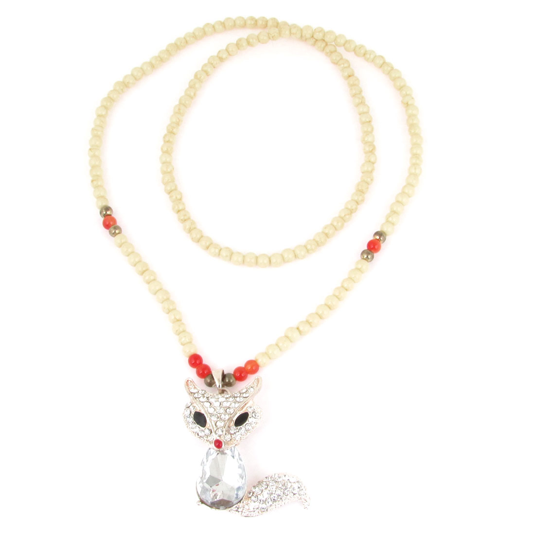 Lady White Faux Crystal Decor Fox Pendant Beaded Sweater Necklace Beige