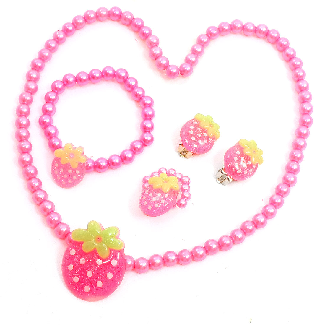 Hot Pink Strawberry Pendant Plastic Beads Necklace Bracelet Beauty Set for Kid