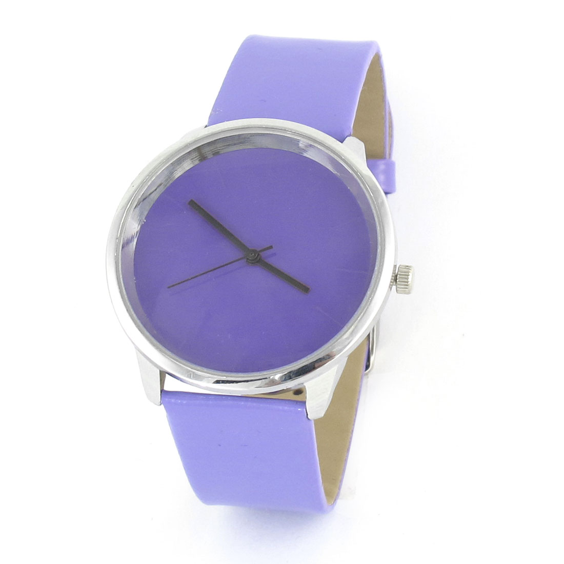 Purple Faux Leather Strap Round Silver Tone Metal Frame Wristwatch for Ladies