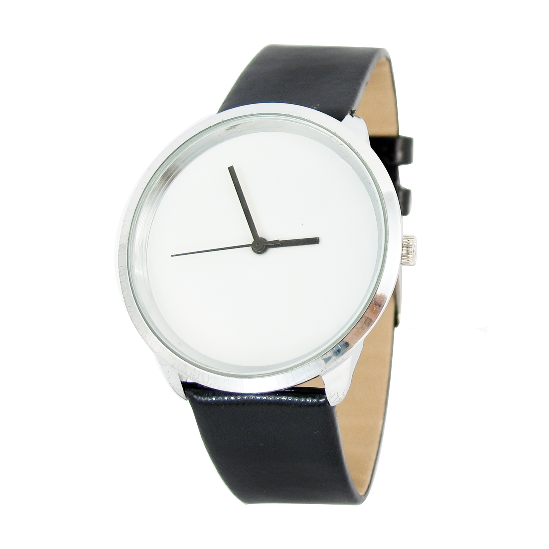 Portable Woman Single Prong Buckle Quartz Three Hands Wrist Watch White Black