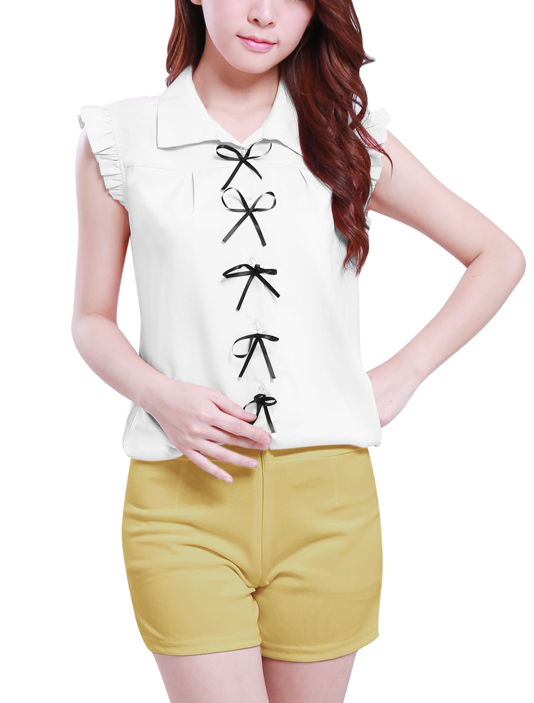 Single-Breasted Front Bowknot Decor White Casual Blouse L for Lady