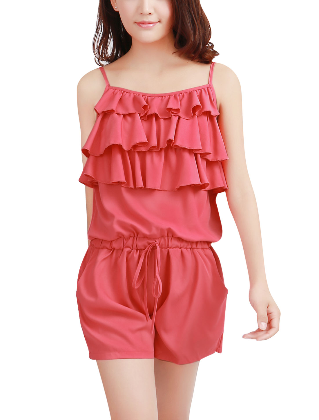 Women NEW Tiered Ruffled Front Pure Watermelon Red Rompers XS