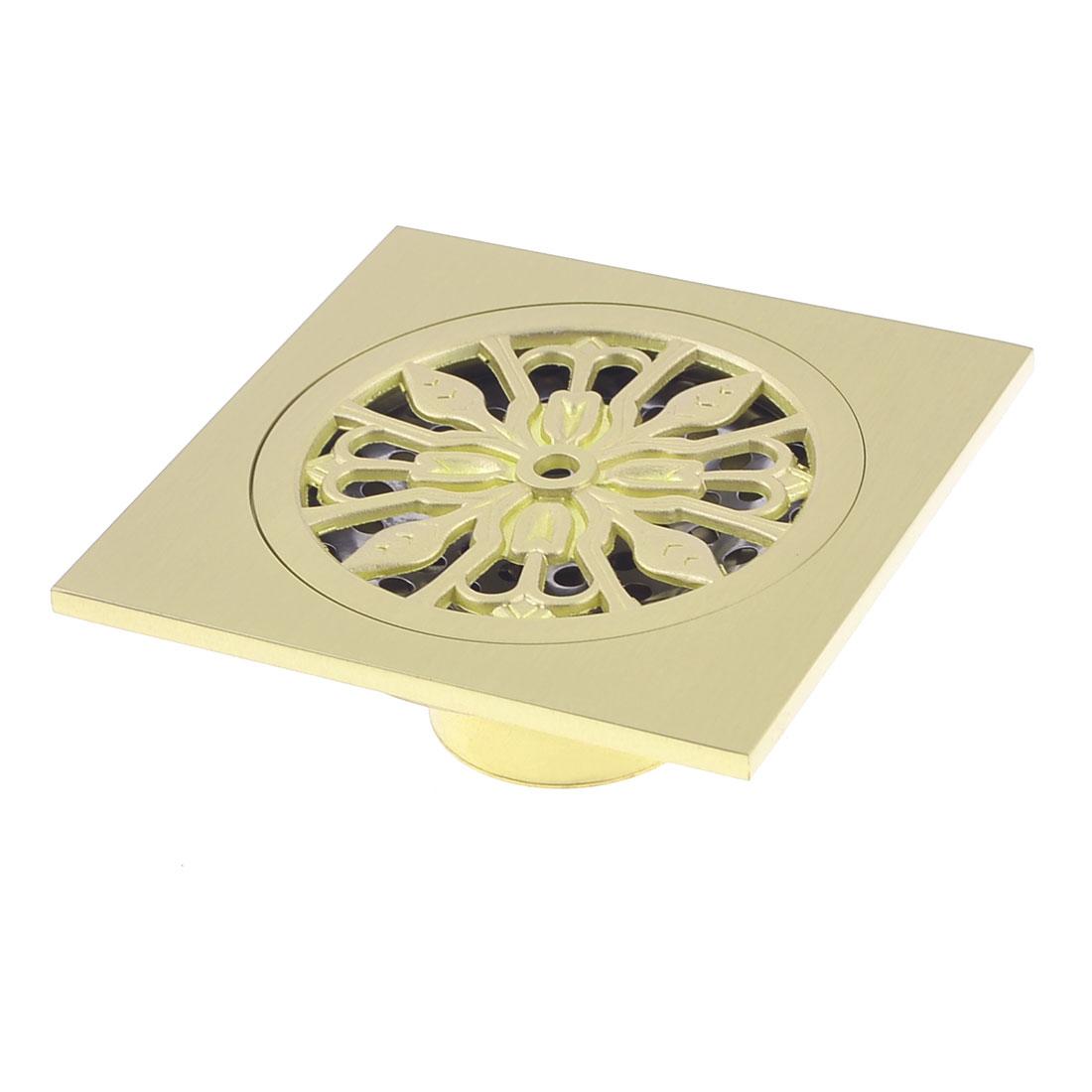 Home Kitchen Bathroom Gold Tone Brass Water Floor Drainer 10 x 10cm