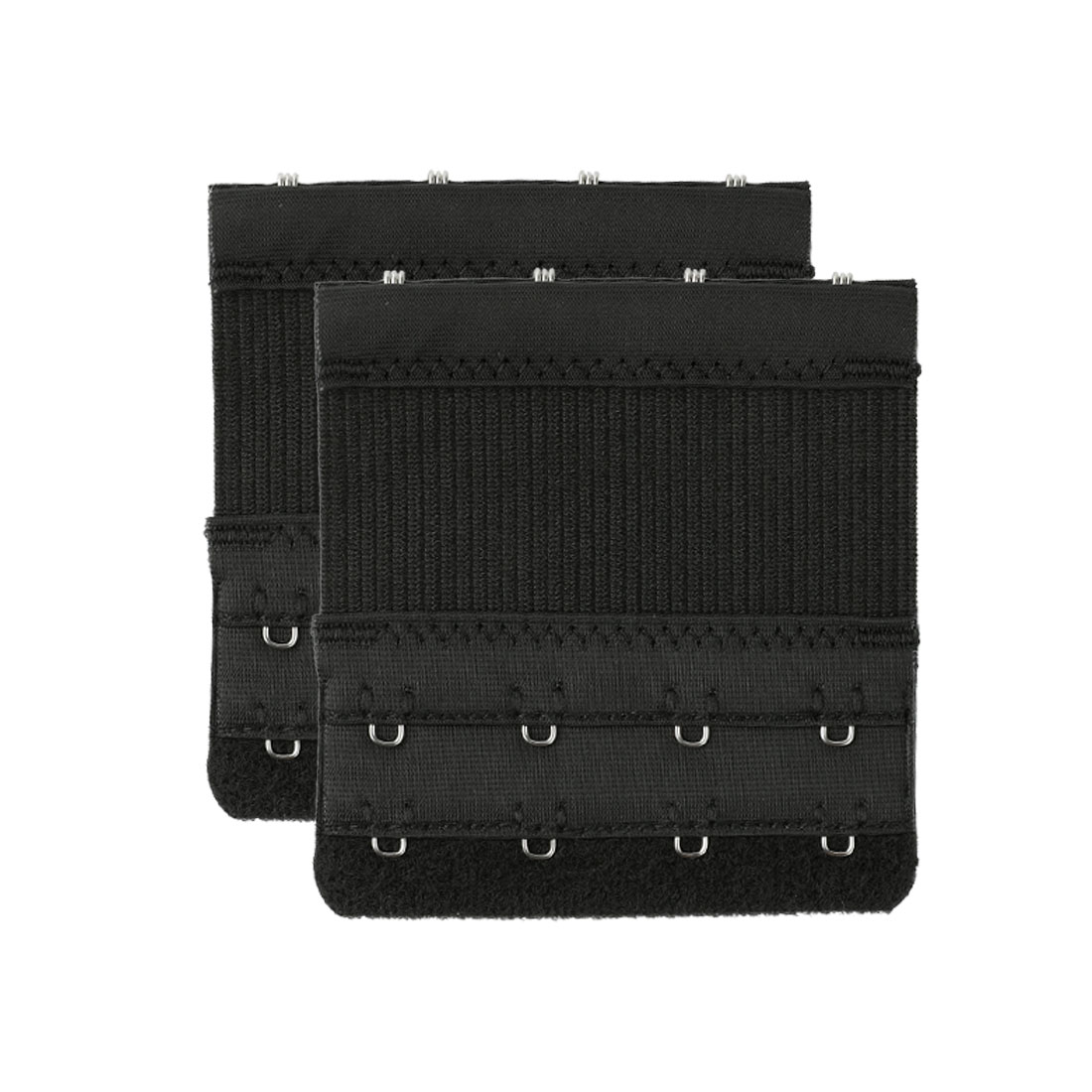 Women Bra Strap Extension 2 Rows 4 Hooks Underwear Buckle Black 2 Pcs