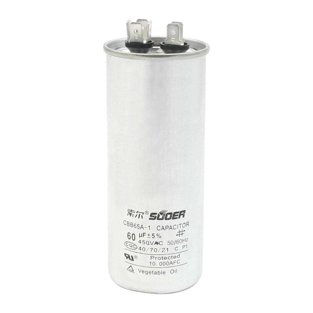 60uF 450V 50/60Hz Cylinder Shaped Refrigerator Motor Running Capacitor