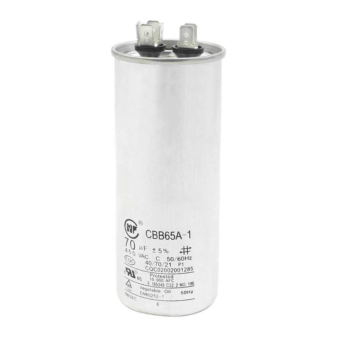 Cylindrical Non Polar Anti Explosion Air Conditioner Capacitor 70uF 450V 50/60Hz