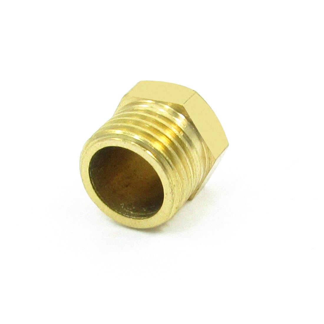 "1/4"" PT Threaded Diameter Brass Internal Hex Head Pipe Connector Gold Tone"