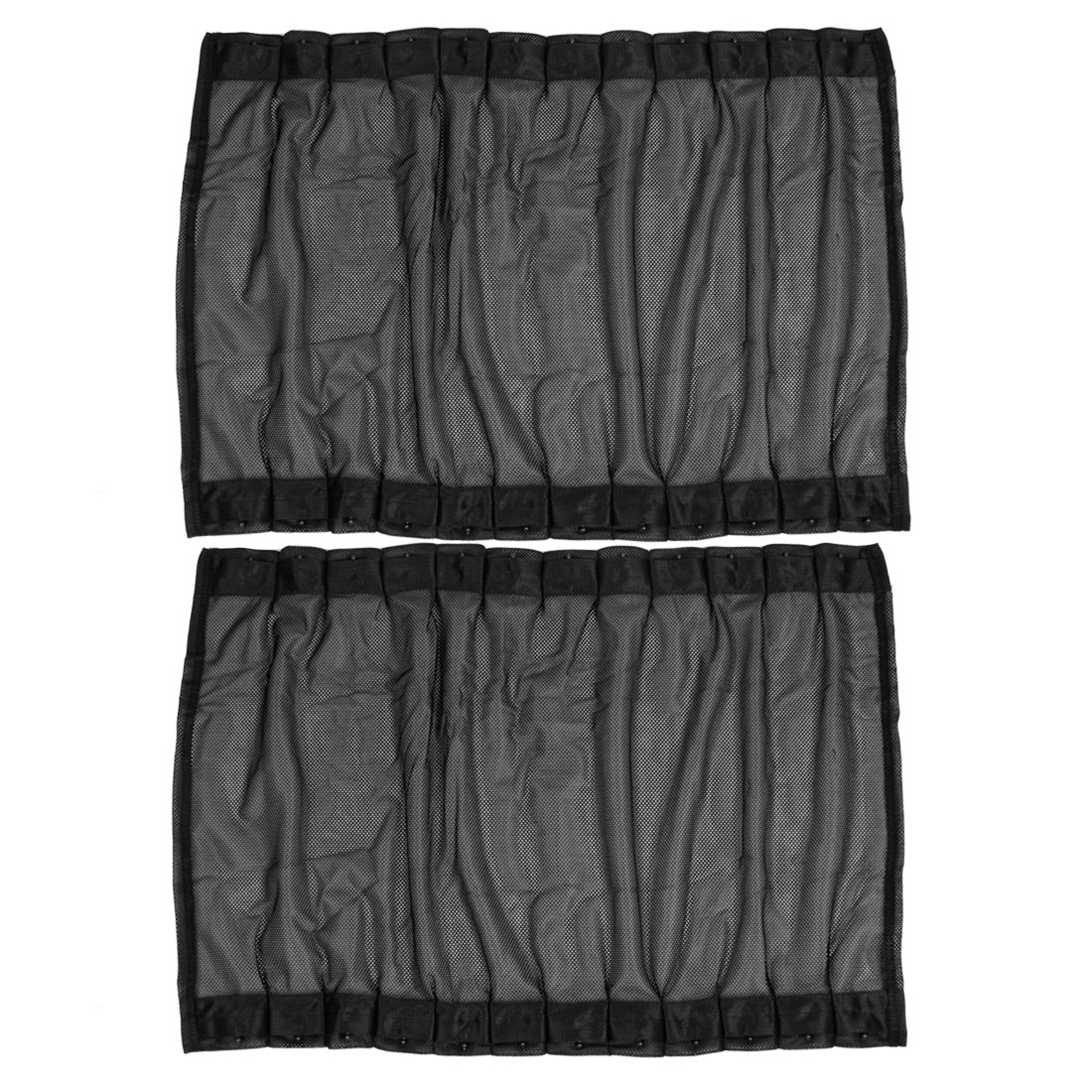 2PCS Black Nylon Mesh Side Rear Window Curtains Shade 60cm x 43cm for Auto Car