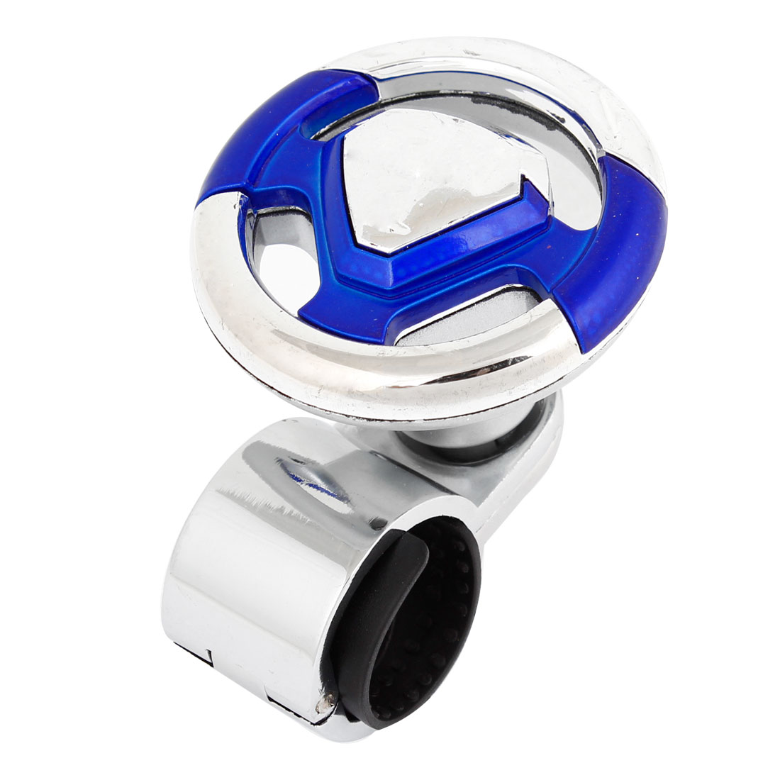 Blue Silver Tone Round Handle Steering Wheel Suicide Spinner Knob for Car Auto