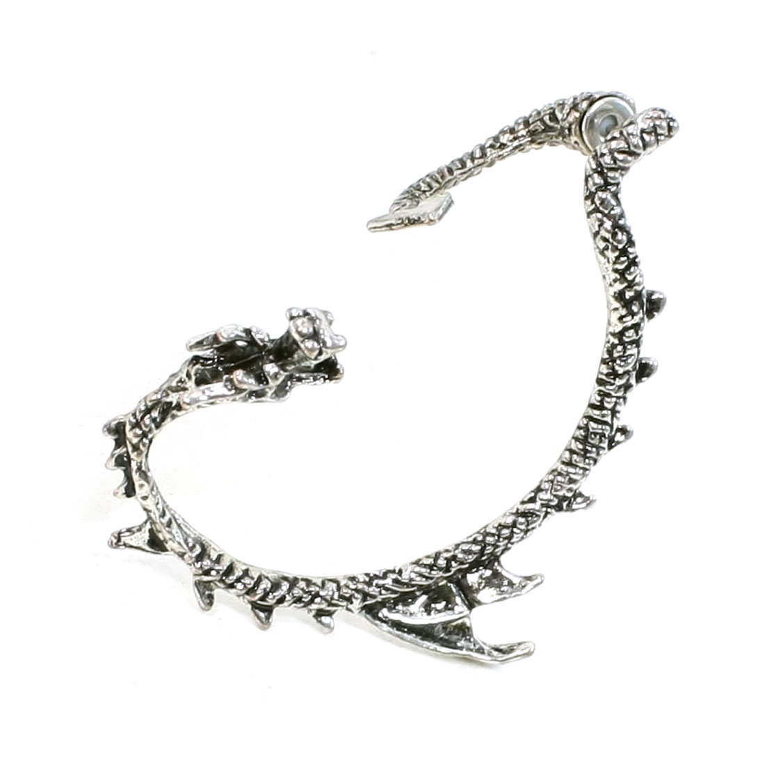 Silver Tone Classic Dragon Ear Wrap Cuff Earring Stud Earrings for Right Ear