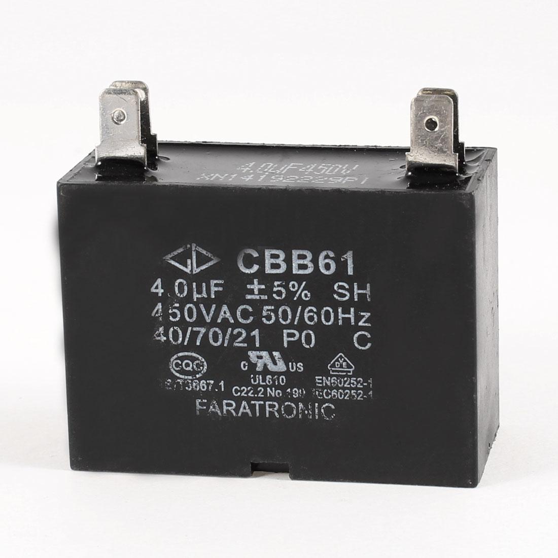 Rectangular 4 Terminals Motor Polypropylene Capacitor 450VAC 4uF 5%