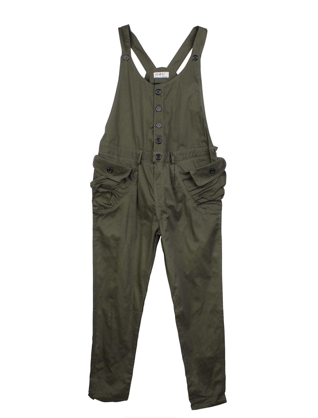 Olive Green L Button Closure Belt Loops Patch Pockets Motherhood Suspender
