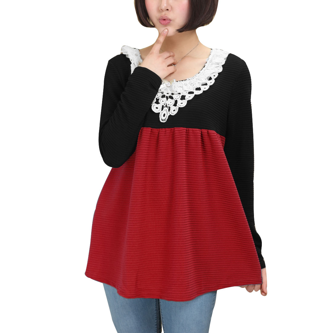 Pregnant Women Round Neck Long Sleeve Pullover Floral Lace Decor Red Shirt M