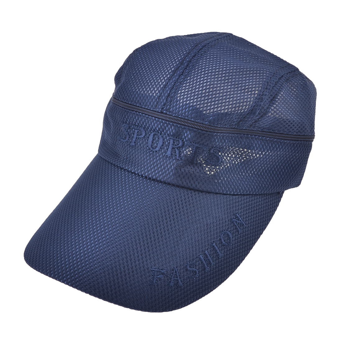 Dark Blue Letter Print Summer Outdoor Mesh Wide Visor Sun Cap for Men