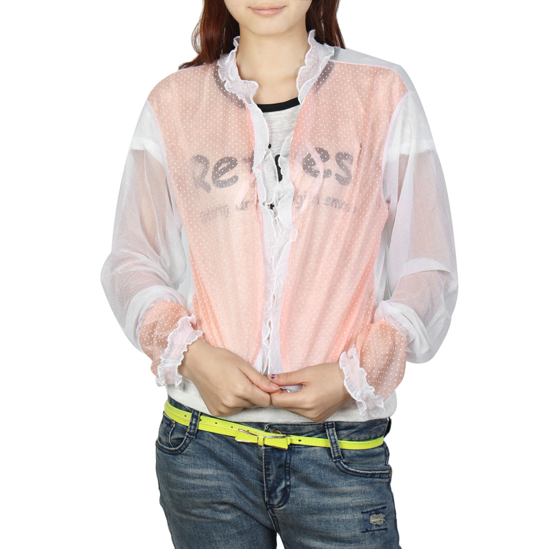 Self Tie Cropped Top Long Sleeves Dot Print UV Protection Shawl White Light Pink