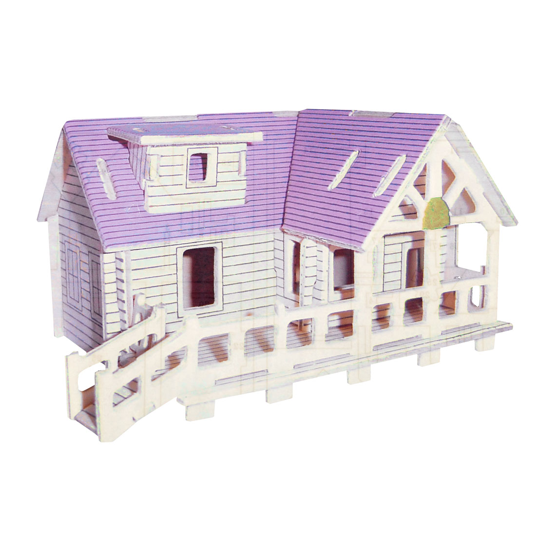 Purple Wood Villa Design Woodcraft Construction Kit Puzzle Toy for Child