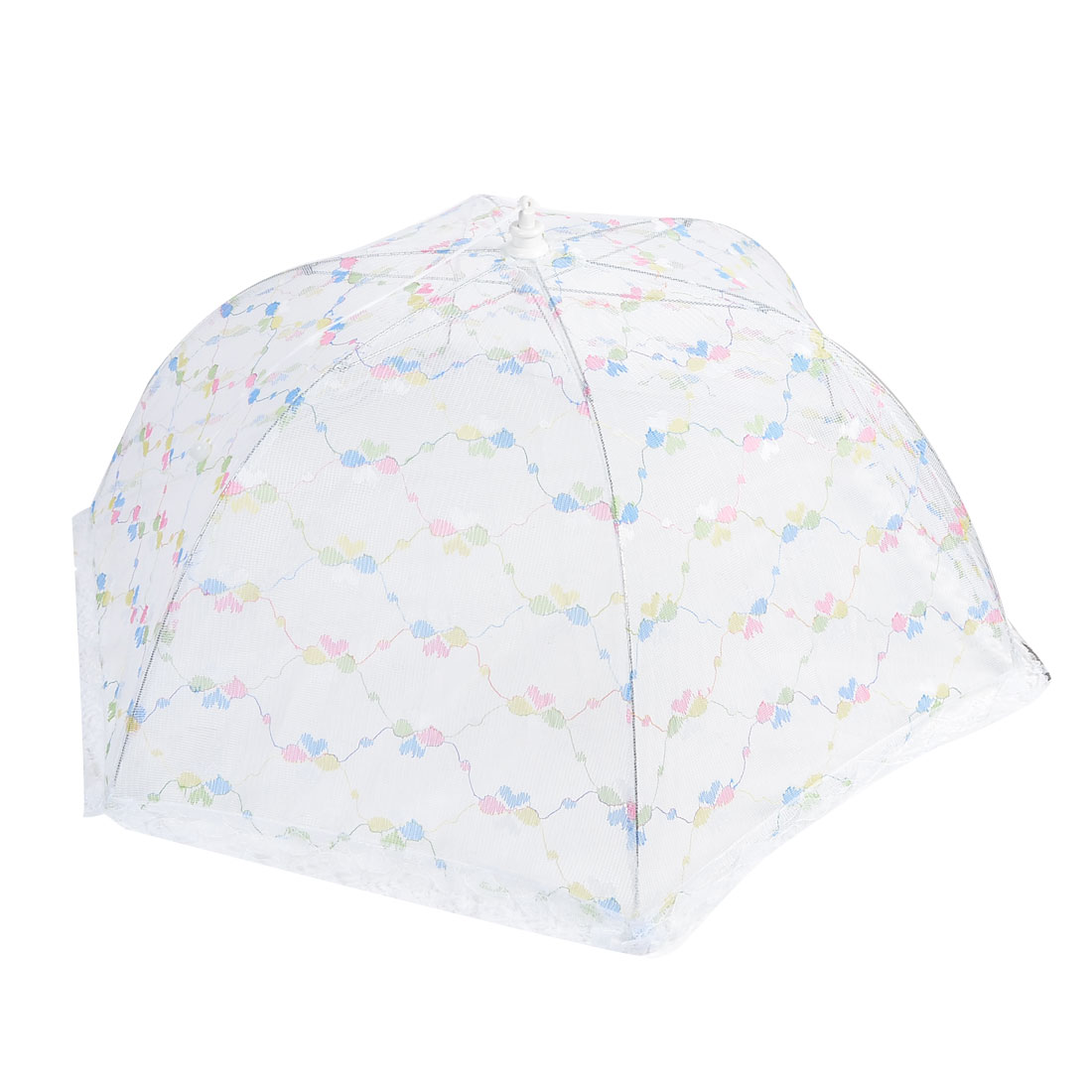 73cm Foldable Heart Pattern Metal Frame Lace Food Cover Umbrella White Blue
