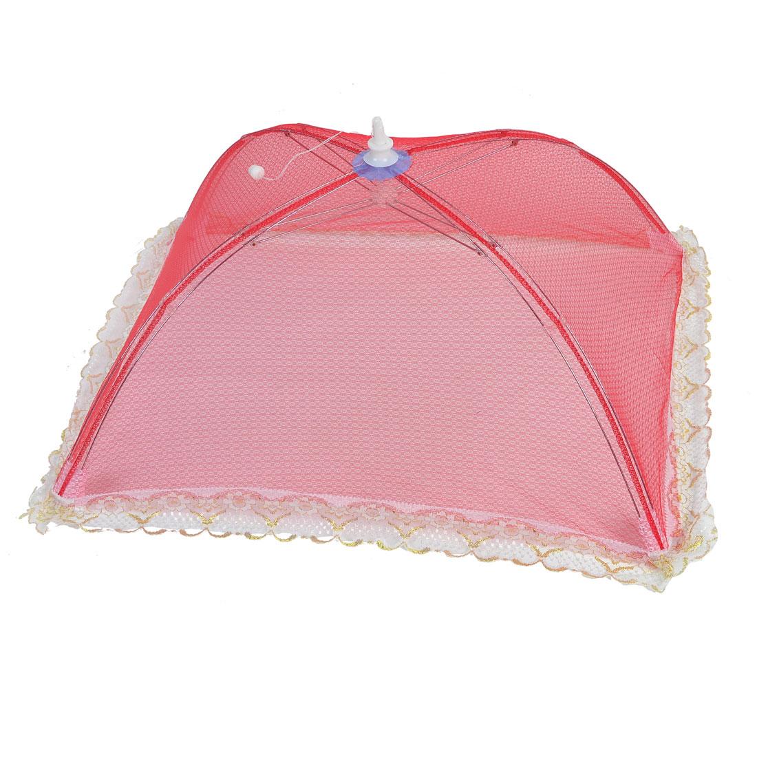 Outdoor Picnic White Lace Decor Red Umbrella Design Food Cover Tent