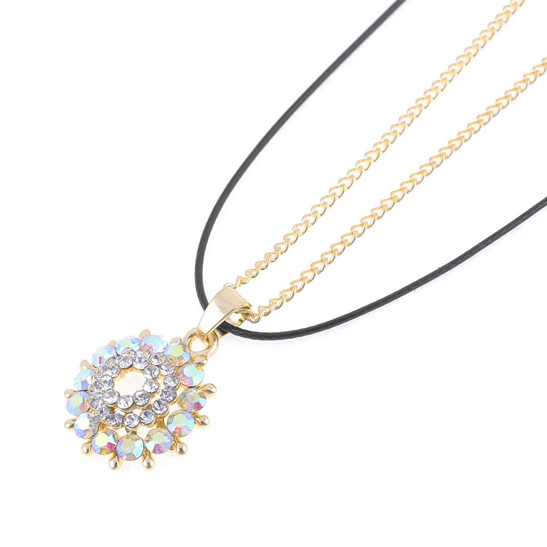 Woman Dual Layers Glittery Sun Design Pendant Chain Sweater Necklace Gold Tone