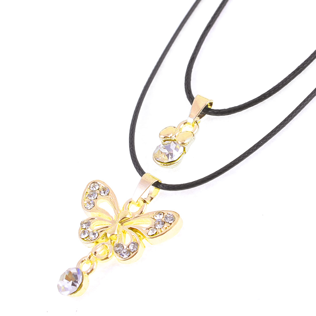 Gold Tone Bling Bling Metal Chian Butterfly Pendant Sweater Necklace for Lady