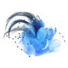 Wedding Party Blue Plume Flower Shape Accent Hairclip Corsage Broach for Lady