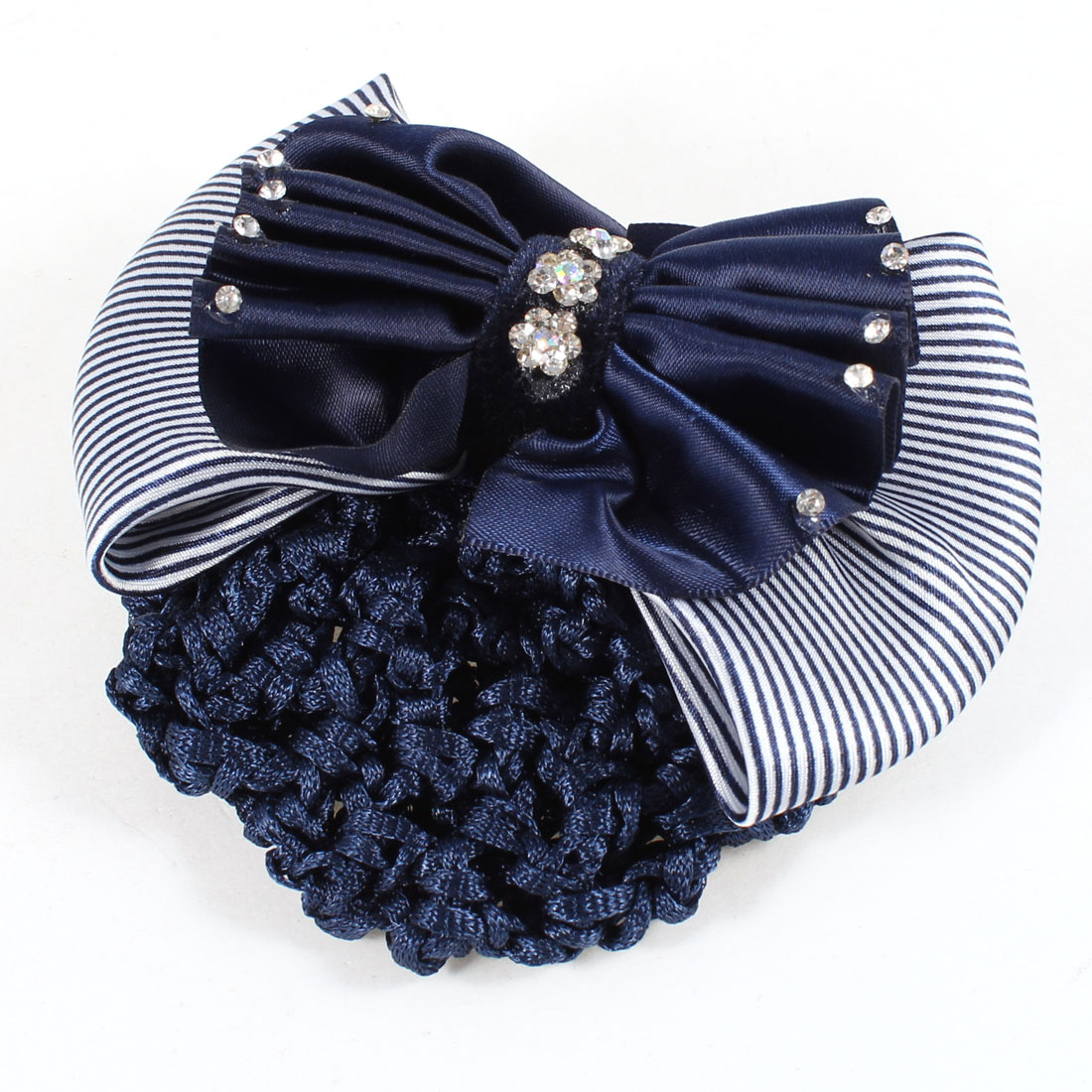 Rhinestones Inlaid Ruched Bowknot Snood Net Barrette Hair Clip Dark Blue