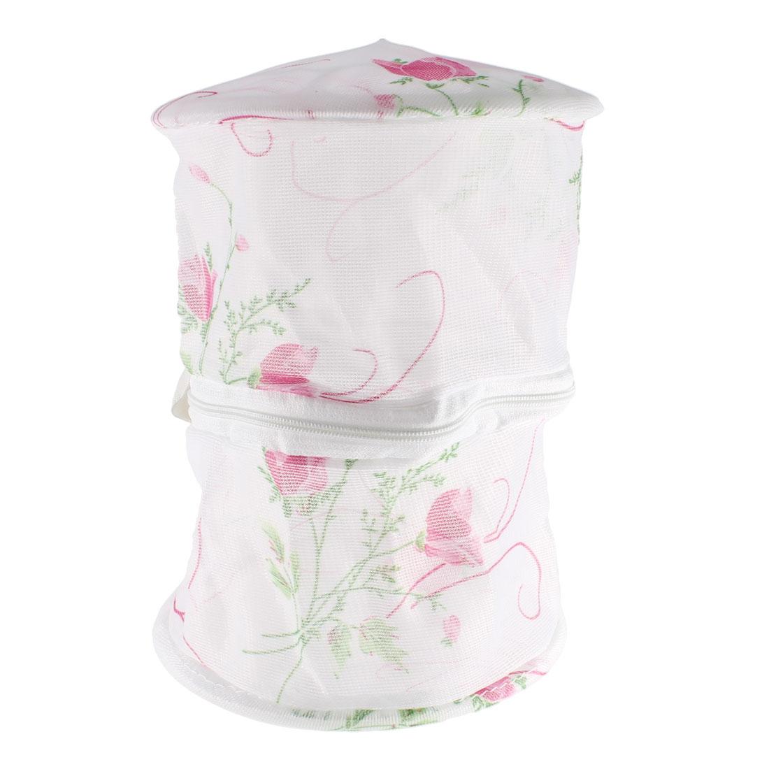 Fuchsia Green Flowers Leaves Pattern Bra Underclothes Washing Storage Bag