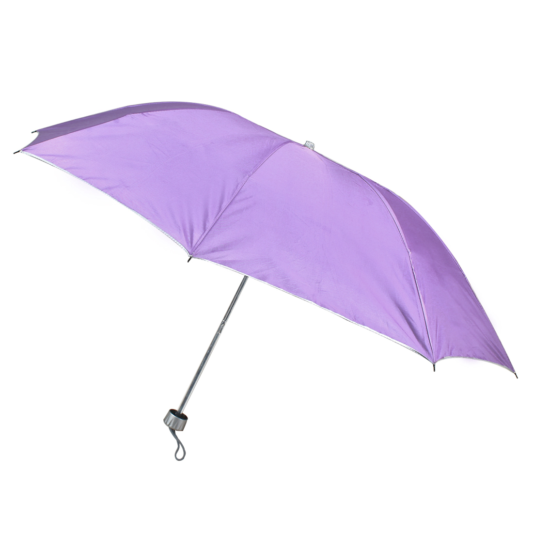 Portable Retractable Shaft Folded Handheld Rain Sun Umbrella Light Purple