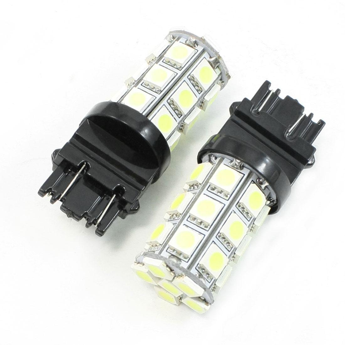2x White 7443 7440 7444NA T20 27 SMD 5050 Stop Tail Brake LED Light Bulb Lamp