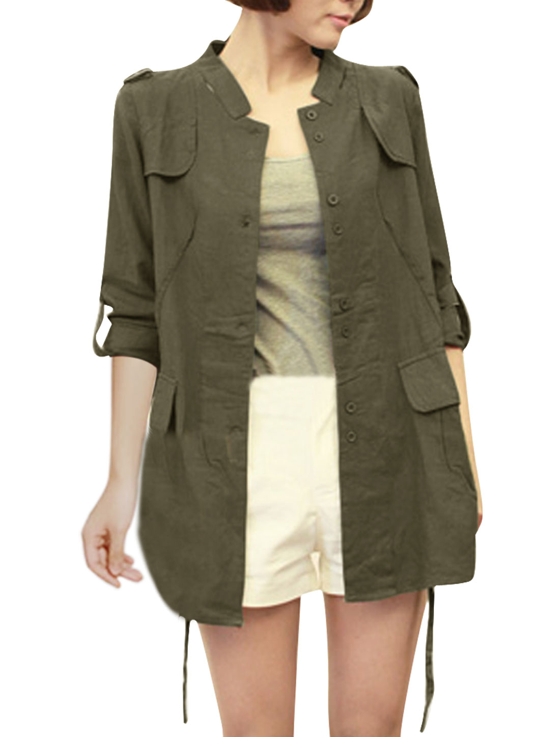 Women S Olive Green Roll Up Sleeve Stand Collar Button Closure Solid Jacket
