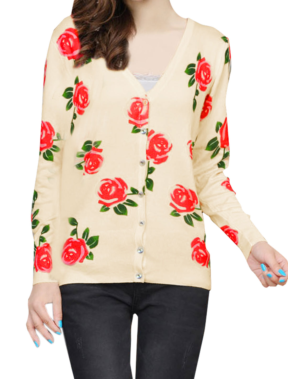 Women Button Up 3/4 Sleeve Flral Prints Cardigan Apricot Red XS