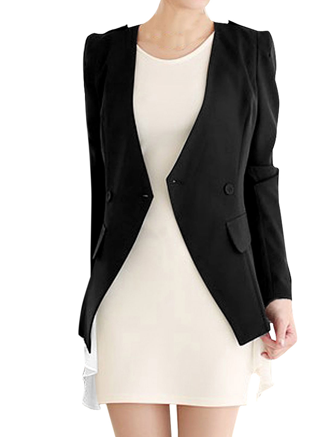 Women's Double Breasted Long-sleeved Layered Design Special Blazer Coat Black S