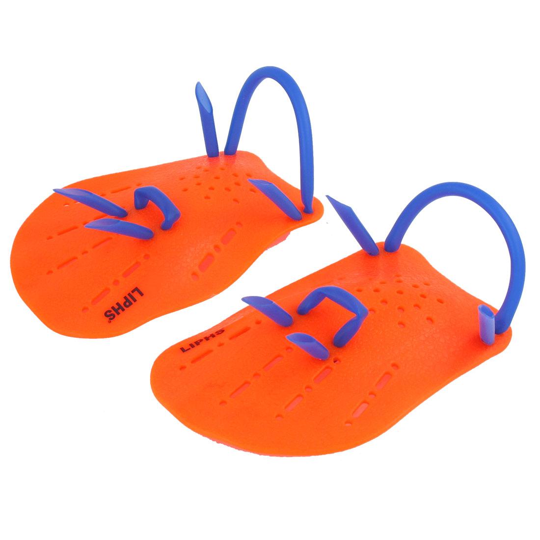 Pair Light Orange Blue Plastic Swimming Hand Paddles Webbed Gloves