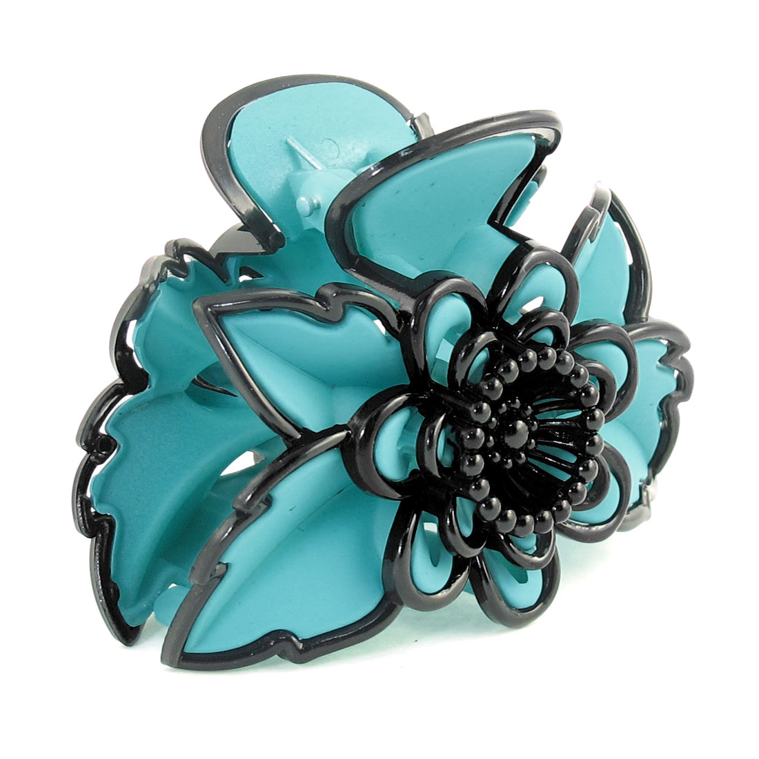 Green Black Plastic Flower Leaf Shaped Hair Claw Clamp Hairclip for Women