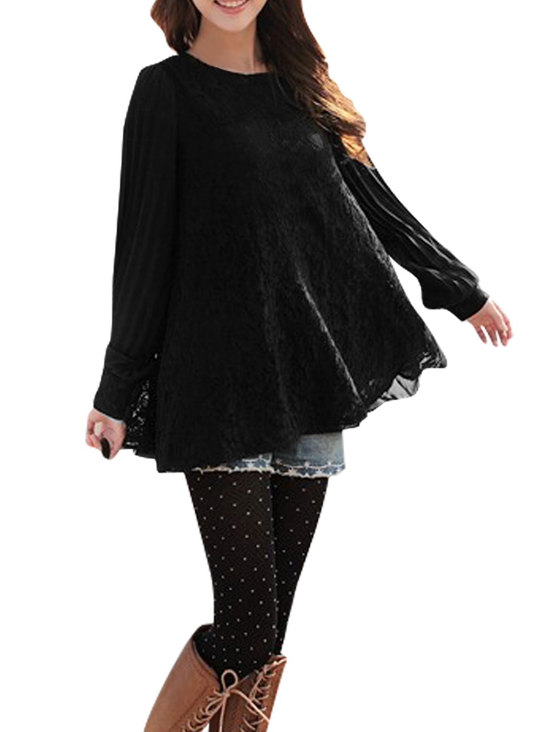 Women Pleated Long Sleeve w Waist String Black Lace Blouse XS