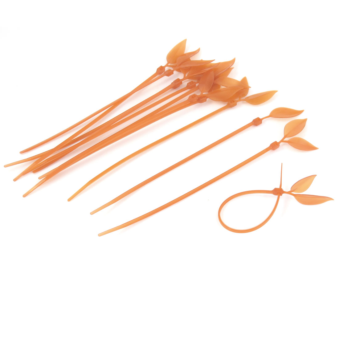 12 Pcs Orange Plastic Leaf Design Wire Cable Ties Tidy Organizer