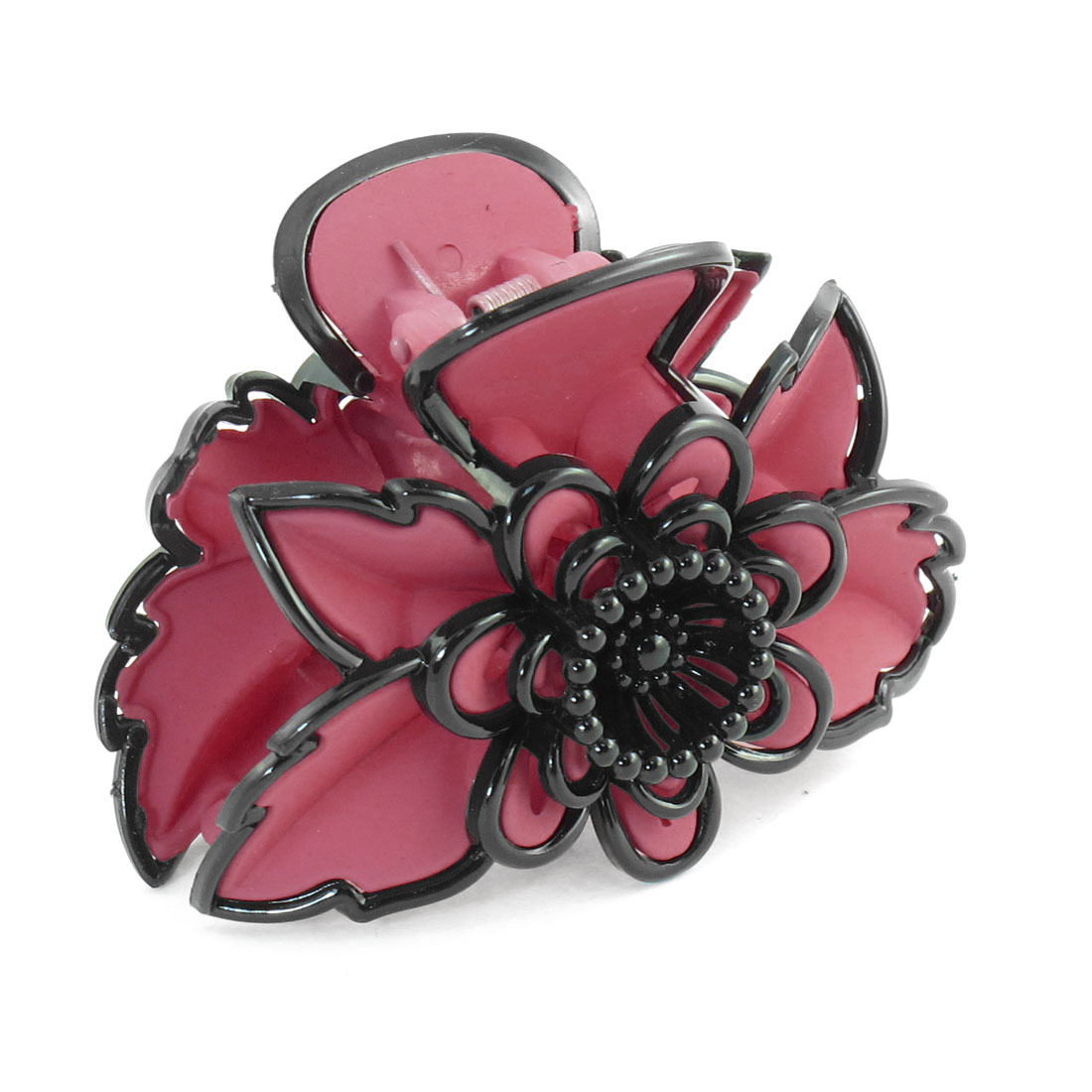 Dark Pink Plastic Flower Leaf Shaped Hair Claw Clamp Hairclip for Women