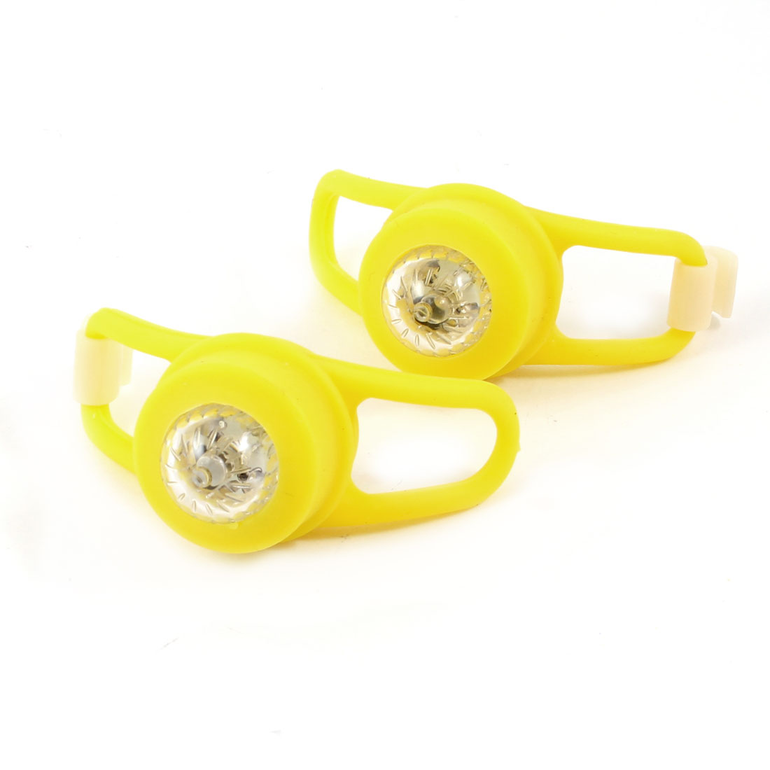Bike Cycling Yellow Silicone Case Colorful Flash LED Lights Lamps 2 Pcs