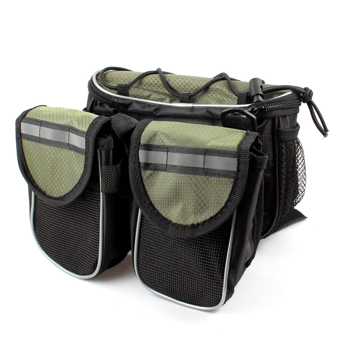 Black Army Green Nylon Hook Loop Fastener Three Pouch Front Bag for Bike