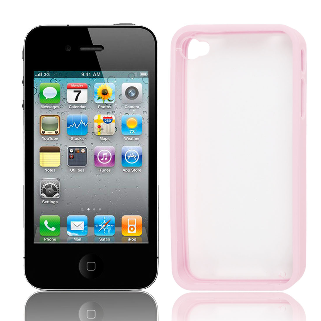 Hard Plastic Case Cover Protector Pale Pink Clear for iPhone 4 4G 4S 4GS