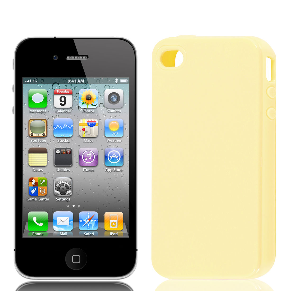 Light Yellow Soft Plastic Cover Case Protector for iPhone 4 4S 4G 4GS