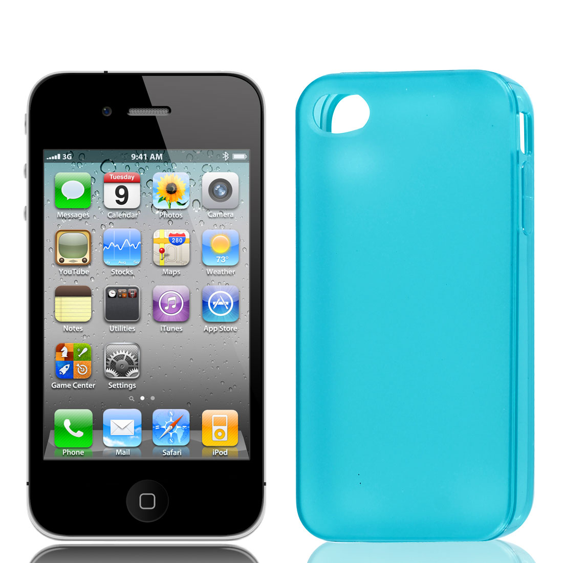 Solid Teal TPU Soft Plastic Back Case Cover w Dust Stopper for iPhone 4 4G 4S 4GS