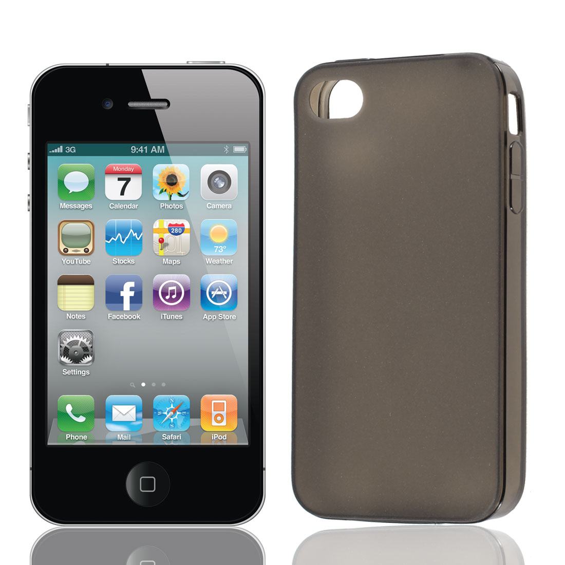Solid Black TPU Soft Plastic Back Case Cover w Dust Plug for iPhone 4 4G 4S 4GS