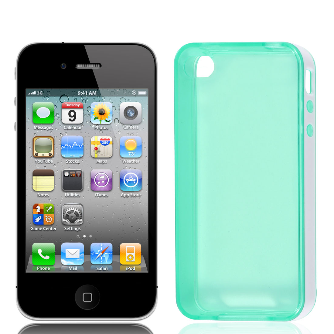 Green White Soft Plastic Back Case Cover for Apple iPhone 4 4S 4G 4GS