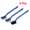 3 Pcs Blue Plastic Grip Metal Wire Cleaning Brushes Set