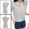 Women Peter Pan Collar Dots Pattern Blouse White XS