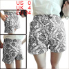 Women's High Waist Elastic Black White Floral Printing XS Mini Shorts