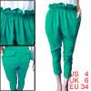 Women Slant Pockets Ruffled Detail Cropped Pants Green S
