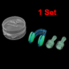 Swimming Blue Soft Silicone Ear Protection Earplugs + Nose Clip Set