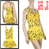 Woman Yellow V Neck Two Tiered Ruffled Skirted Tankini Set Swimsuit XS